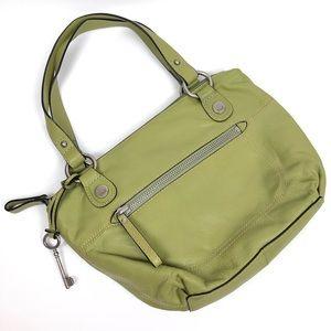 Fossil Hanover Top Zip Shoulder Bag Purse Lime